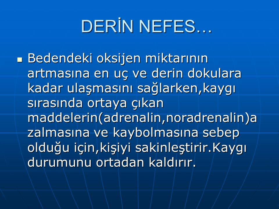 DERİN NEFES… Bedendeki oksijen miktarının artmasına en uç ve derin dokulara kadar ulaşmasını sağlarken,kaygı sırasında ortaya çıkan maddelerin(adrenal