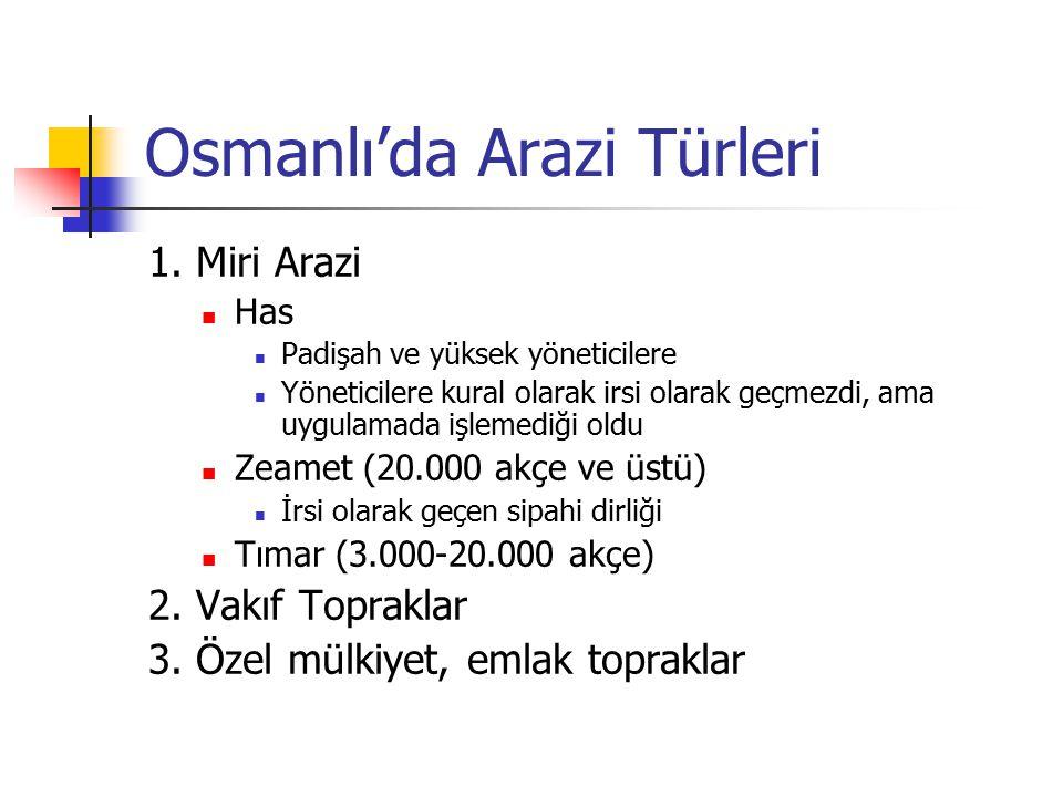 Osmanlı'da Arazi Türleri 1. Miri Arazi Has Padişah ve yüksek yöneticilere Yöneticilere kural olarak irsi olarak geçmezdi, ama uygulamada işlemediği ol