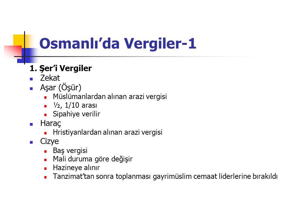 Osmanlı'da Vergiler-1 1. Şer'i Vergiler Zekat Aşar (Öşür) Müslümanlardan alınan arazi vergisi ½, 1/10 arası Sipahiye verilir Haraç Hristiyanlardan alı