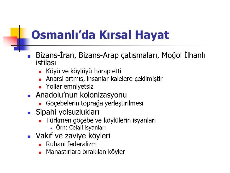 Osmanlı'da Kırsal Hayat Bizans-İran, Bizans-Arap çatışmaları, Moğol İlhanlı istilası Köyü ve köylüyü harap etti Anarşi artmış, insanlar kalelere çekil
