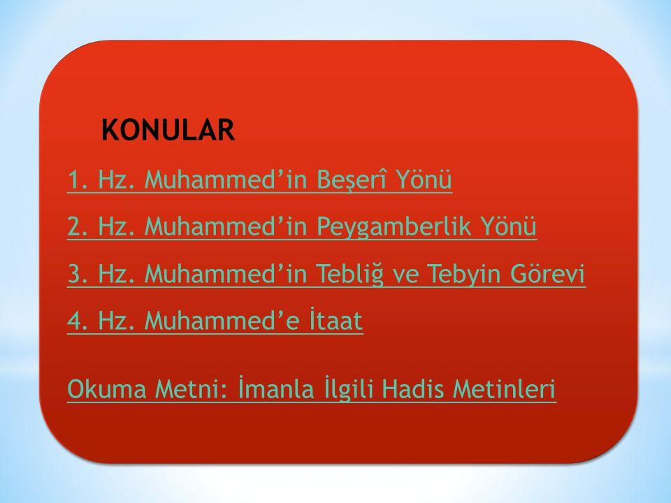 KONULAR 1.Hz. Muhammed'in Beşerî Yönü 2. Hz. Muhammed'in Peygamberlik Yönü 3.