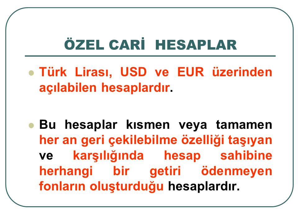 Türk Lirası, USD ve EUR üzerinden açılabilen hesaplardır. Bu hesaplar kısmen veya tamamen her an geri çekilebilme özelliği taşıyan ve karşılığında hes