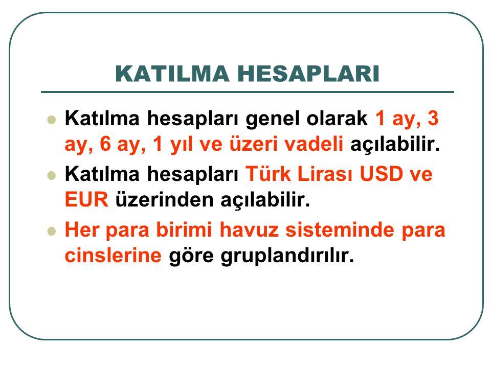 KATILMA HESAPLARI Katılma hesapları genel olarak 1 ay, 3 ay, 6 ay, 1 yıl ve üzeri vadeli açılabilir. Katılma hesapları Türk Lirası USD ve EUR üzerinde