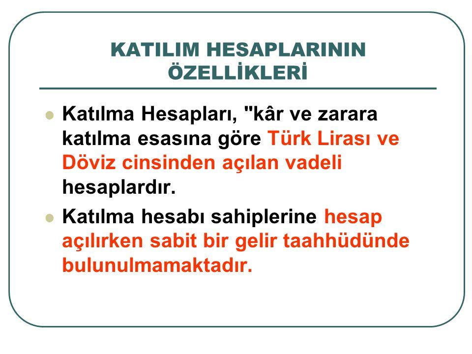 KATILIM HESAPLARININ ÖZELLİKLERİ Katılma Hesapları, kâr ve zarara katılma esasına göre Türk Lirası ve Döviz cinsinden açılan vadeli hesaplardır.