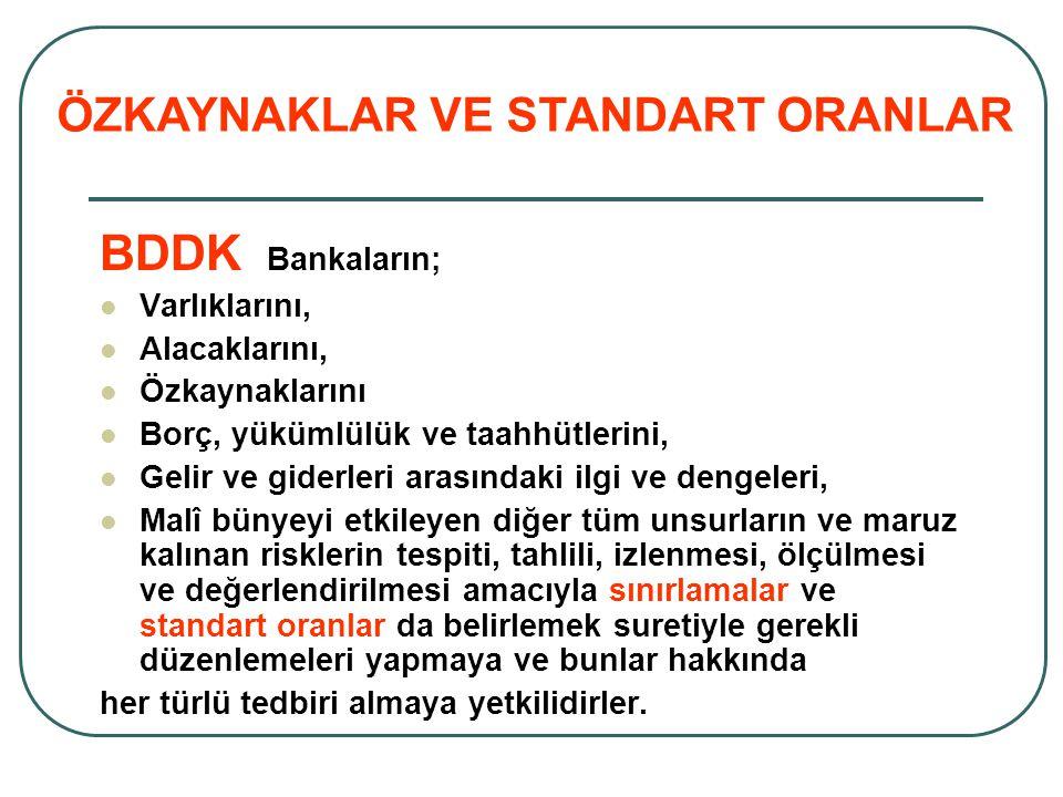BDDK Bankaların; Varlıklarını, Alacaklarını, Özkaynaklarını Borç, yükümlülük ve taahhütlerini, Gelir ve giderleri arasındaki ilgi ve dengeleri, Malî b