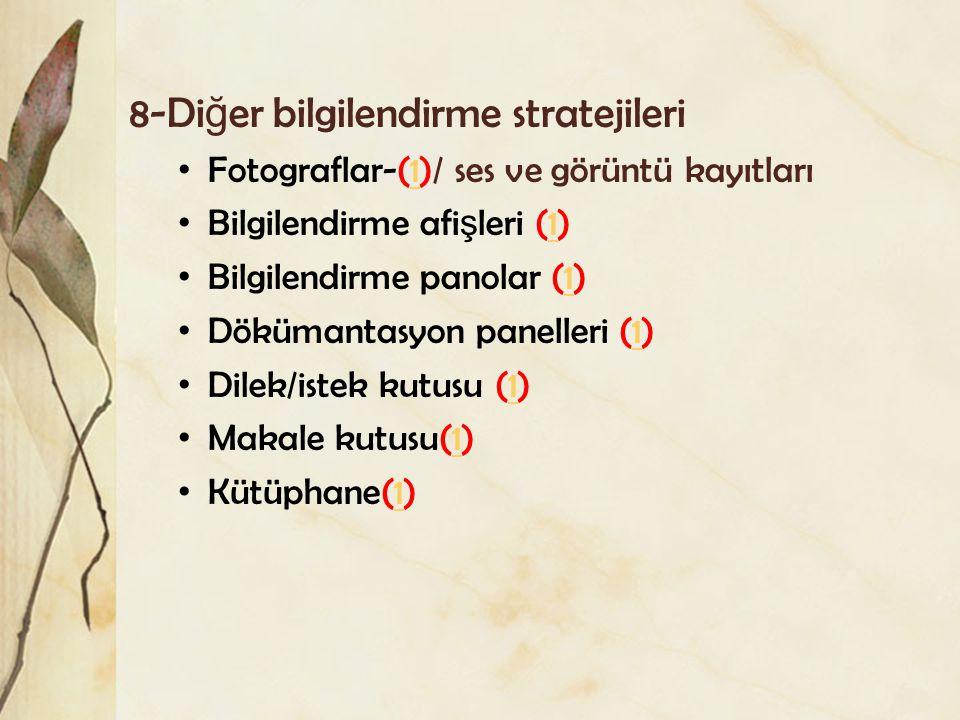 8-Di ğ er bilgilendirme stratejileri Fotograflar-(1)/ ses ve görüntü kayıtları1 Bilgilendirme afi ş leri (1)1 Bilgilendirme panolar (1)1 Dökümantasyon