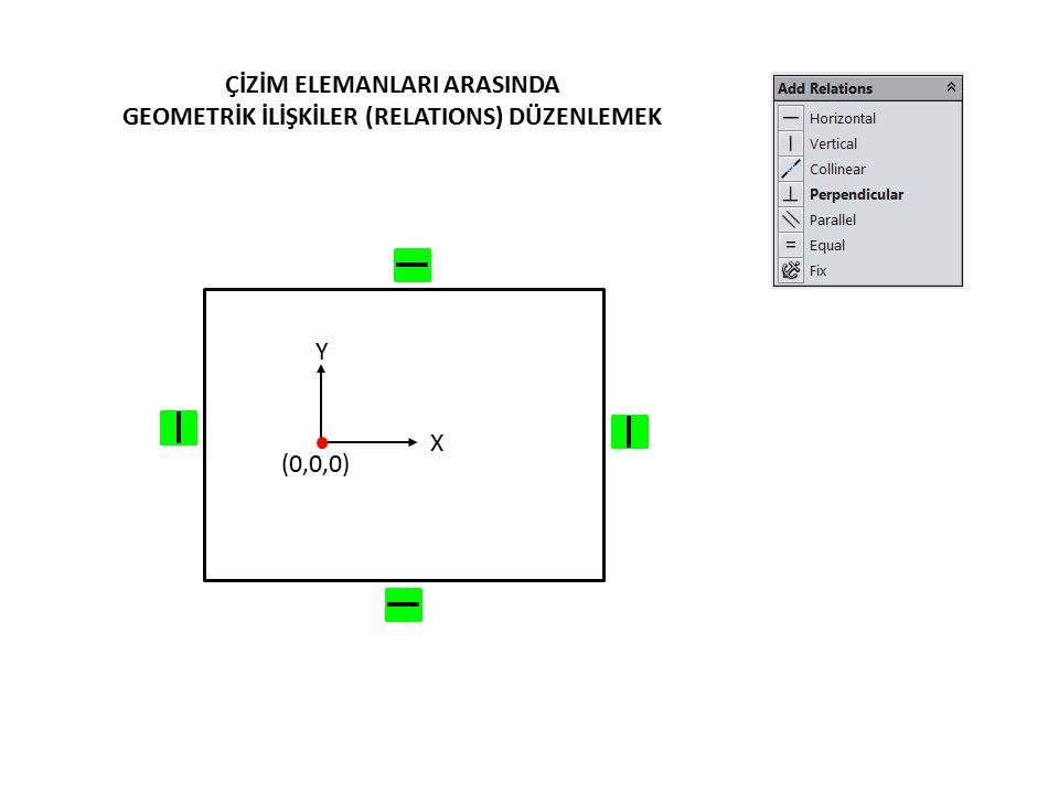 ÇİZİM ELEMANLARI ARASINDA GEOMETRİK İLİŞKİLER (RELATIONS) DÜZENLEMEK (0,0,0) Y X