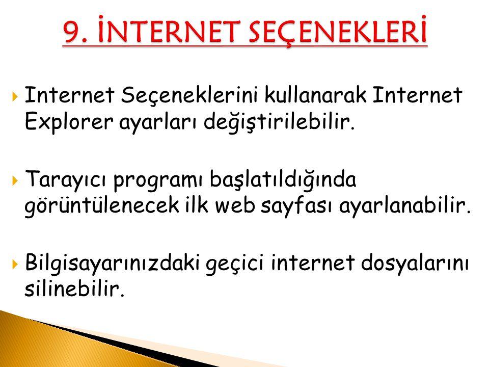  Internet Seçeneklerini kullanarak Internet Explorer ayarları değiştirilebilir.  Tarayıcı programı başlatıldığında görüntülenecek ilk web sayfası ay