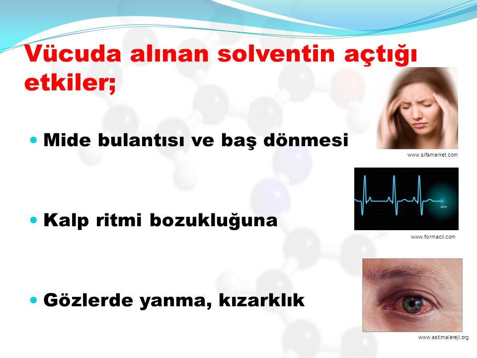Vücuda alınan solventin açtığı etkiler; Mide bulantısı ve baş dönmesi Kalp ritmi bozukluğuna Gözlerde yanma, kızarklık www.sifamarket.com www.formacil