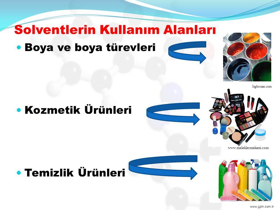 Solventlerin Kullanım Alanları Boya ve boya türevleri Kozmetik Ürünleri Temizlik Ürünleri www.meleklermekani.com İsghocası.com www.gzm.com.tr