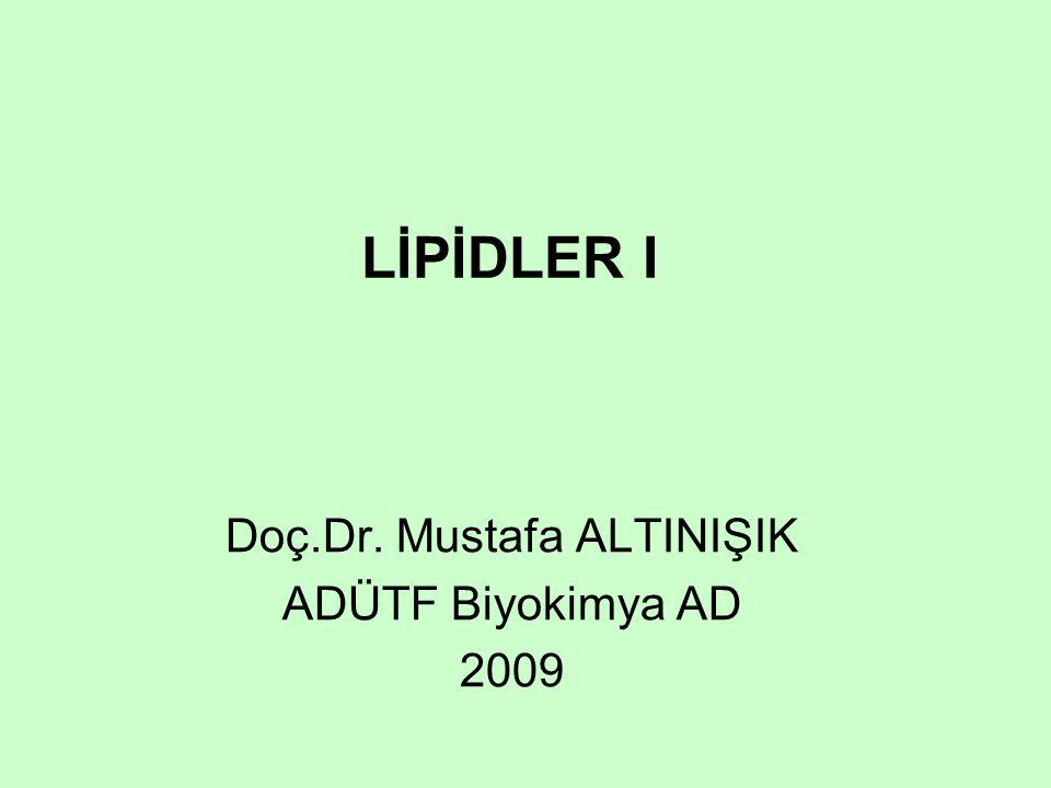 LİPİDLER I Doç.Dr. Mustafa ALTINIŞIK ADÜTF Biyokimya AD 2009