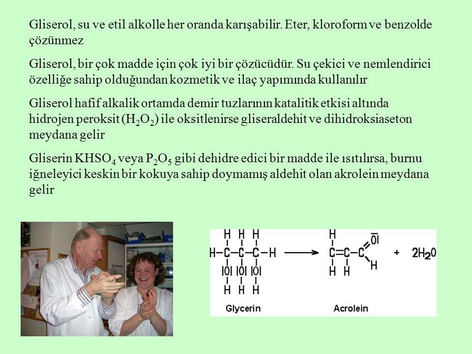 Gliserol, su ve etil alkolle her oranda karışabilir. Eter, kloroform ve benzolde çözünmez Gliserol, bir çok madde için çok iyi bir çözücüdür. Su çekic