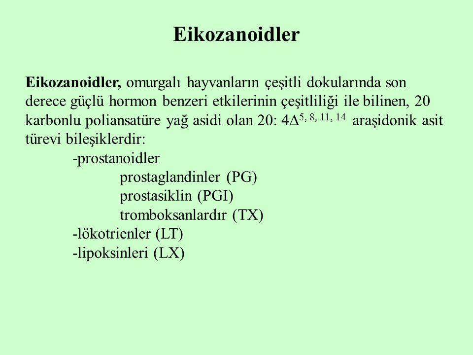 Eikozanoidler Eikozanoidler, omurgalı hayvanların çeşitli dokularında son derece güçlü hormon benzeri etkilerinin çeşitliliği ile bilinen, 20 karbonlu poliansatüre yağ asidi olan 20: 4  5, 8, 11, 14 araşidonik asit türevi bileşiklerdir: -prostanoidler prostaglandinler (PG) prostasiklin (PGI) tromboksanlardır (TX) -lökotrienler (LT) -lipoksinleri (LX)
