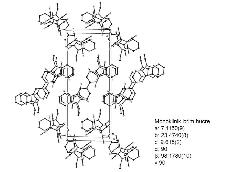 Monoklinik brim hücre a: 7.1150(9) b: 23.4740(8) c: 9.615(2) α: 90 β: 98.1780(10) γ 90