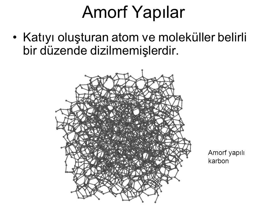 Amorf Yapılar Katıyı oluşturan atom ve moleküller belirli bir düzende dizilmemişlerdir. Amorf yapılı karbon