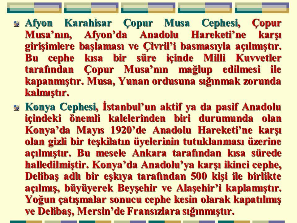 Afyon Karahisar Çopur Musa Cephesi, Çopur Musa'nın, Afyon'da Anadolu Hareketi'ne karşı girişimlere başlaması ve Çivril'i basmasıyla açılmıştır.