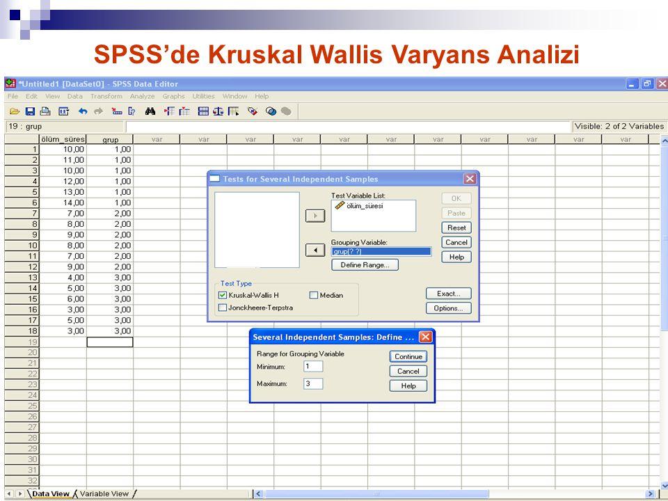 16 SPSS'de Kruskal Wallis Varyans Analizi