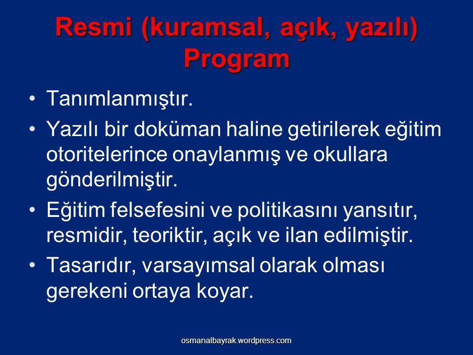 Posner`in Eğitim Programı Sınıflaması Resmi (kuramsal, açık, yazılı) program İşlevsel (gözlenen, gerçekleşen, uygulanan) program İhmal edilen (geçersiz, görmezden gelinen) programÖrtük (gizli, yazılı olmayan) programEkstra program osmanalbayrak.wordpress.com