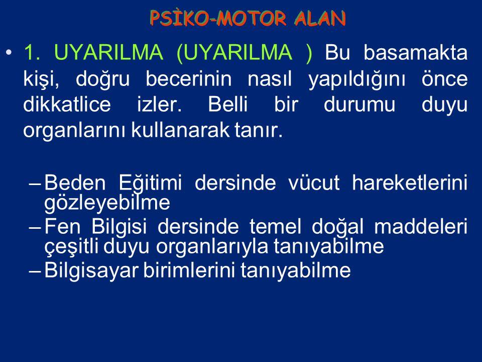PSİKO-MOTOR ( DEVİNİŞSEL) HEDEFLER PSİKO-MOTOR ( DEVİNİŞSEL) HEDEFLER KURULMA KLAVUZ DENETİMİNDE YAPMA MEKANİKLEŞME DURUMA UYDURMA YARATMA BASİT KARMAŞIK ALGILAMA ( UYARILMA ) BECERİ HALİNE GETİRME