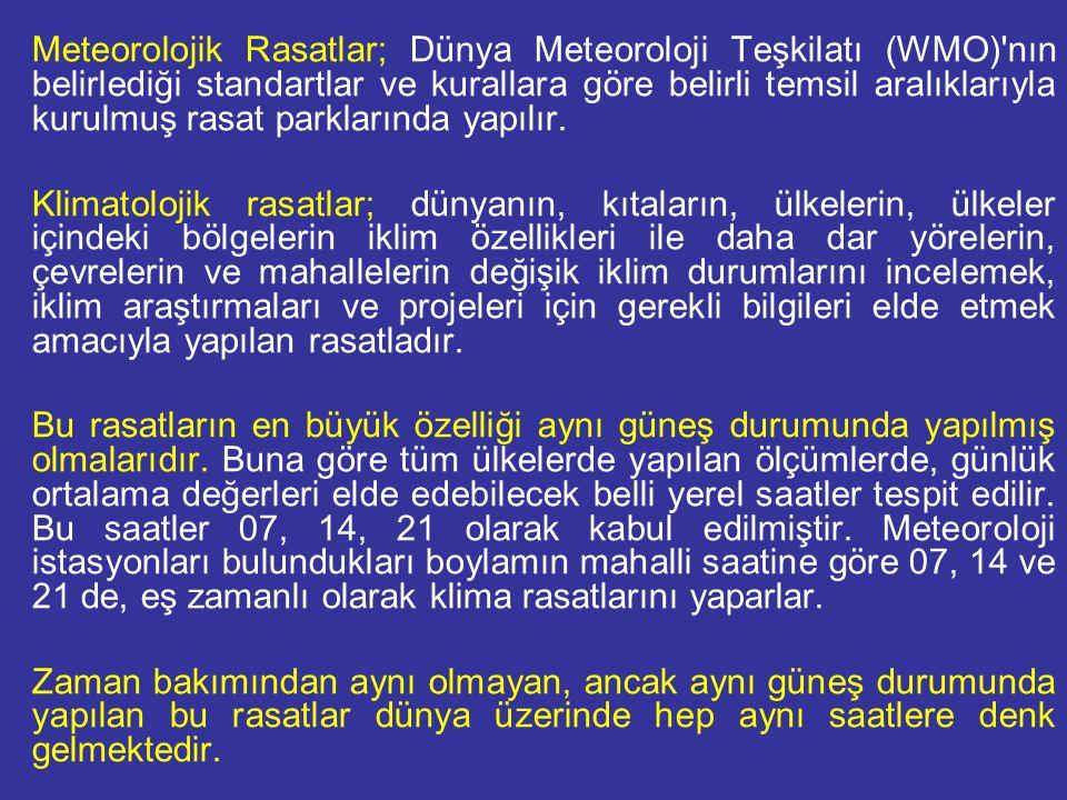 Meteorolojik Rasatlar; Dünya Meteoroloji Teşkilatı (WMO)'nın belirlediği standartlar ve kurallara göre belirli temsil aralıklarıyla kurulmuş rasat par