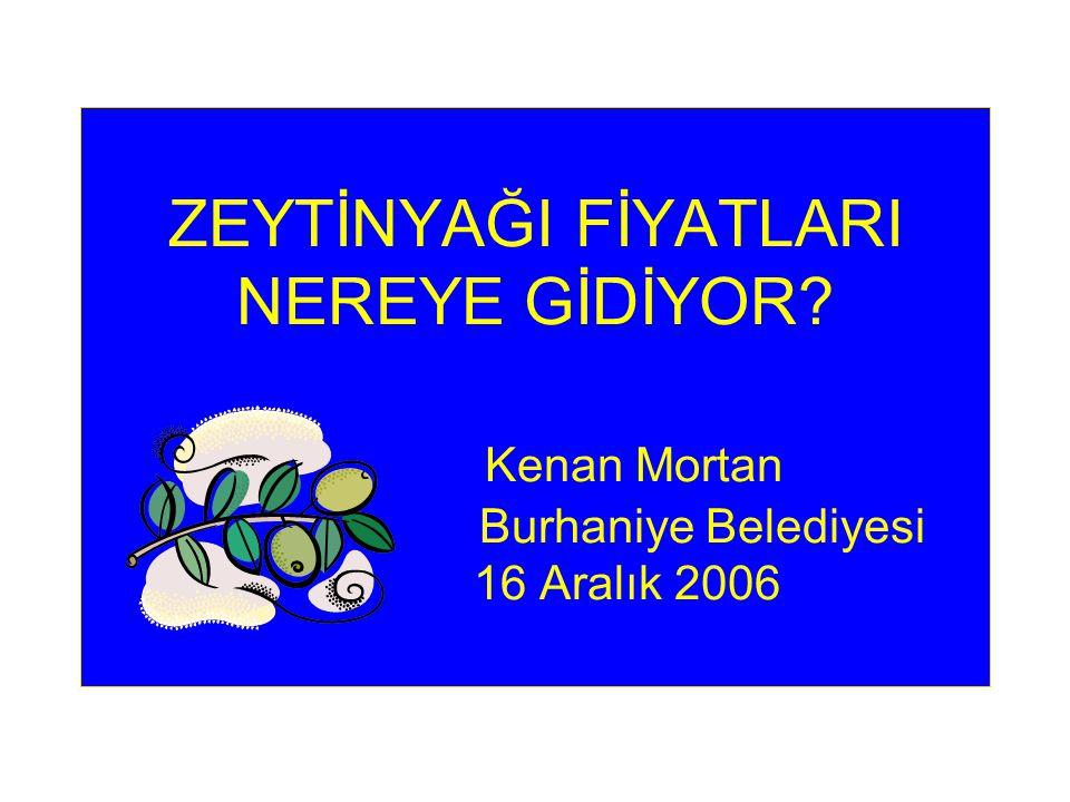 ZEYTİNYAĞI FİYATLARI NEREYE GİDİYOR Kenan Mortan Burhaniye Belediyesi 16 Aralık 2006