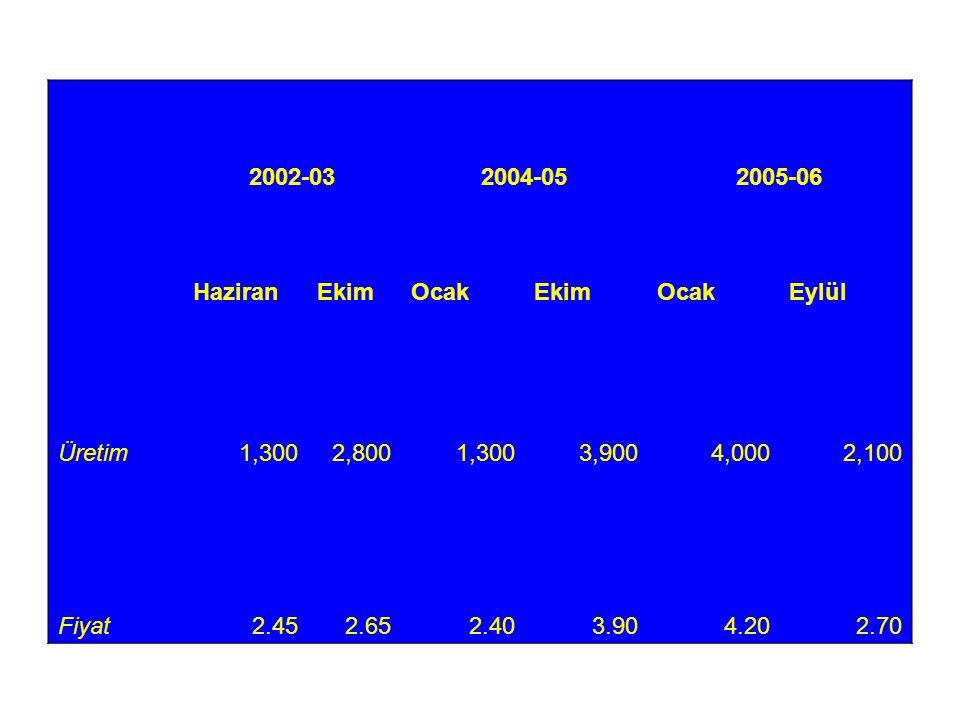 2002-032004-052005-06 HaziranEkimOcakEkimOcakEylül Üretim1,3002,8001,3003,9004,0002,100 Fiyat2.452.652.403.904.202.70