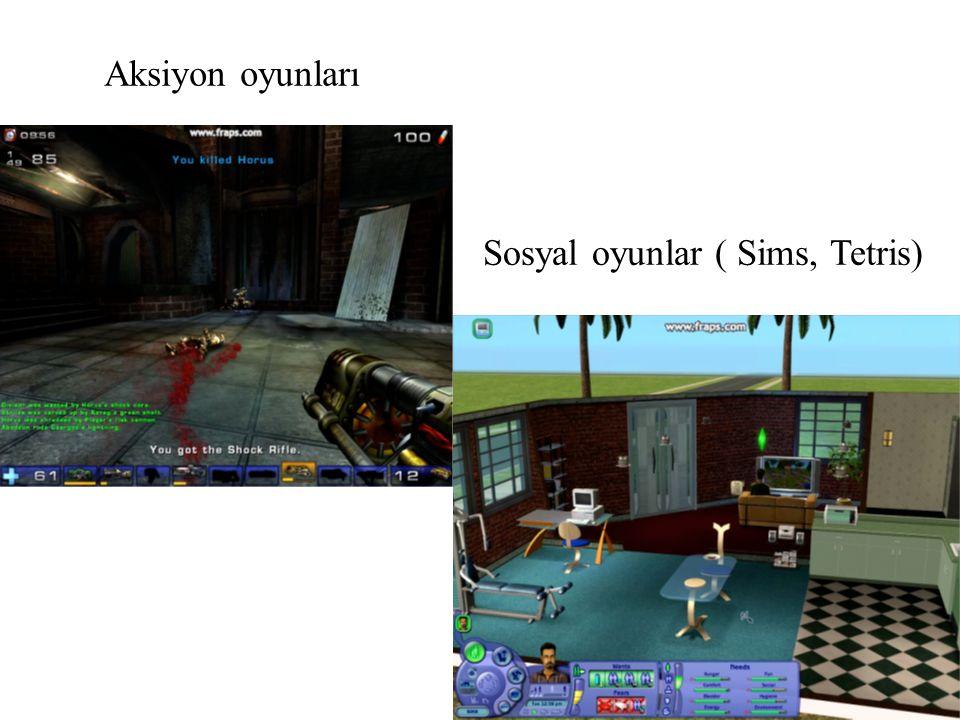 Aksiyon oyunları Sosyal oyunlar ( Sims, Tetris)