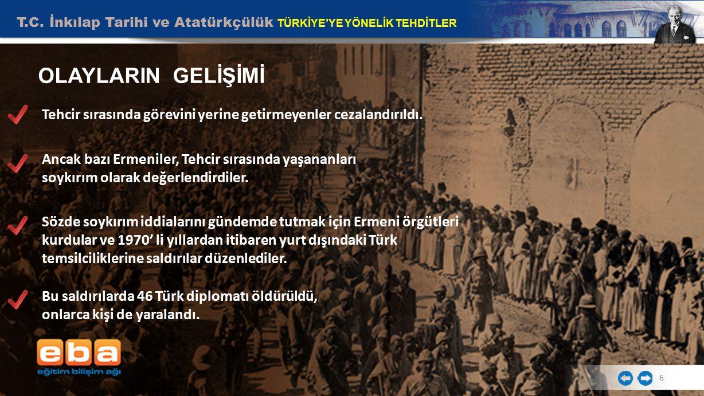 T.C. İnkılap Tarihi ve Atatürkçülük TÜRKİYE'YE YÖNELİK TEHDİTLER 6 OLAYLARIN GELİŞİMİ Tehcir sırasında görevini yerine getirmeyenler cezalandırıldı. A