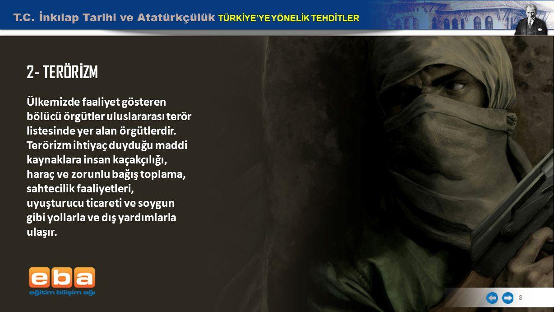 T.C. İnkılap Tarihi ve Atatürkçülük TÜRKİYE'YE YÖNELİK TEHDİTLER 8 2- TERÖR İ ZM Ülkemizde faaliyet gösteren bölücü örgütler uluslararası terör listes