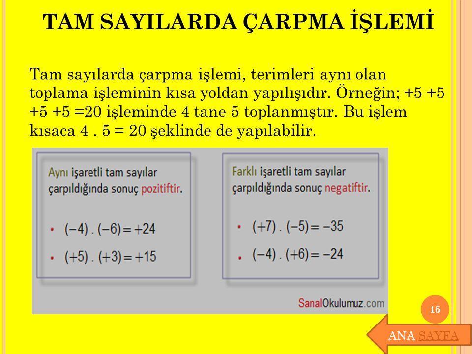 TAM SAYILARDA ÇARPMA İŞLEMİ Tam sayılarda çarpma işlemi, terimleri aynı olan toplama işleminin kısa yoldan yapılışıdır. Örneğin; +5 +5 +5 +5 =20 işlem