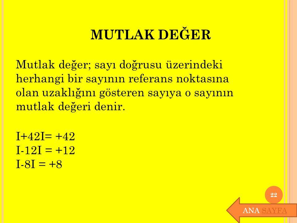 MUTLAK DEĞER Mutlak değer; sayı doğrusu üzerindeki herhangi bir sayının referans noktasına olan uzaklığını gösteren sayıya o sayının mutlak değeri den