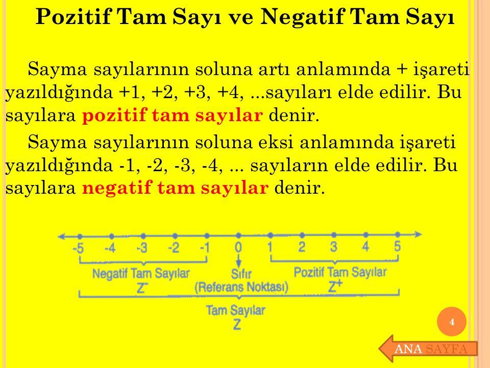 Pozitif Tam Sayı ve Negatif Tam Sayı Sayma sayılarının soluna artı anlamında + işareti yazıldığında +1, +2, +3, +4,...sayıları elde edilir. Bu sayılar