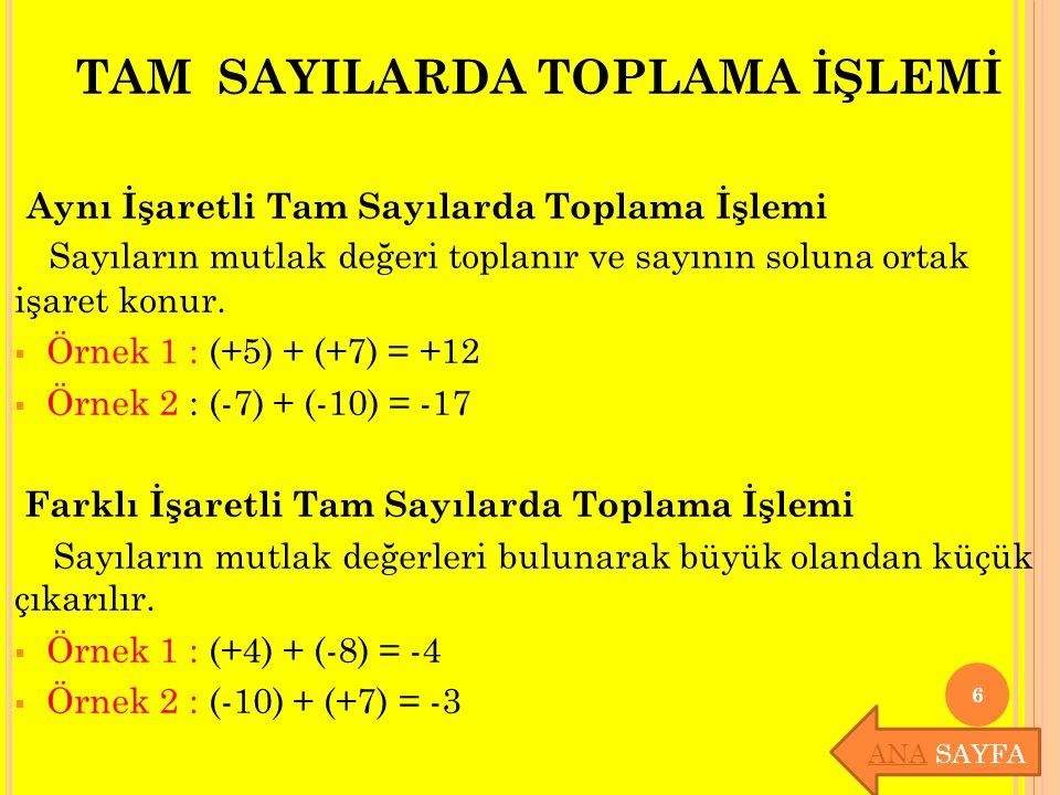 Örnek: En küçük pozitif tam sayı ile en büyük negatif tam sayının toplamı kaçtır.