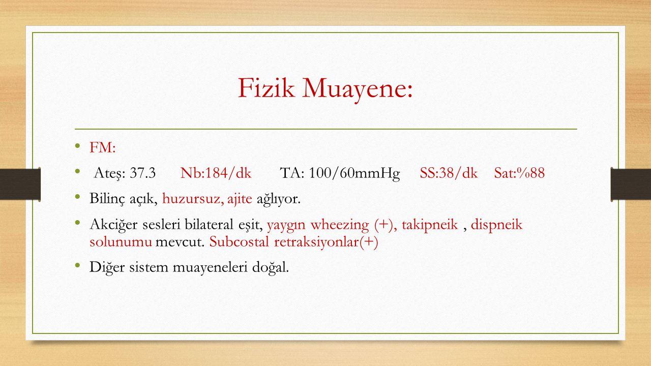 Fizik Muayene: FM: Ateş: 37.3 Nb:184/dk TA: 100/60mmHg SS:38/dk Sat:%88 Bilinç açık, huzursuz, ajite ağlıyor. Akciğer sesleri bilateral eşit, yaygın w