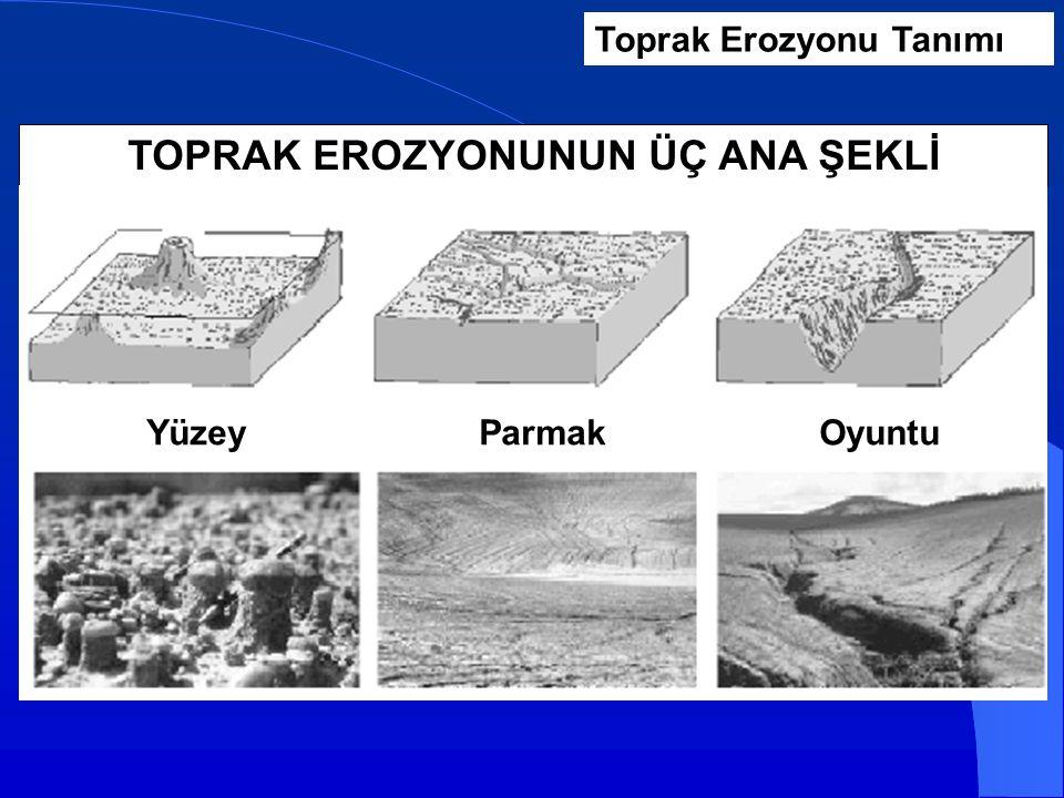 Toprak Erozyonu Tanımı TOPRAK EROZYONUNUN ÜÇ ANA ŞEKLİ YüzeyParmakOyuntu