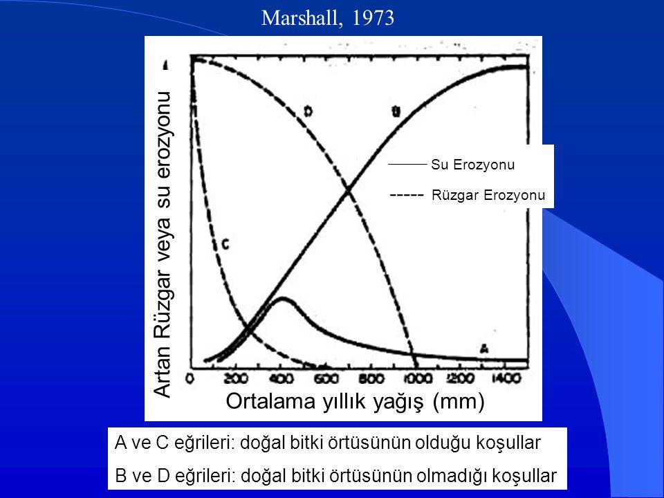 Marshall, 1973 A ve C eğrileri: doğal bitki örtüsünün olduğu koşullar B ve D eğrileri: doğal bitki örtüsünün olmadığı koşullar Su Erozyonu Ortalama yıllık yağış (mm) Artan Rüzgar veya su erozyonu ----- Rüzgar Erozyonu