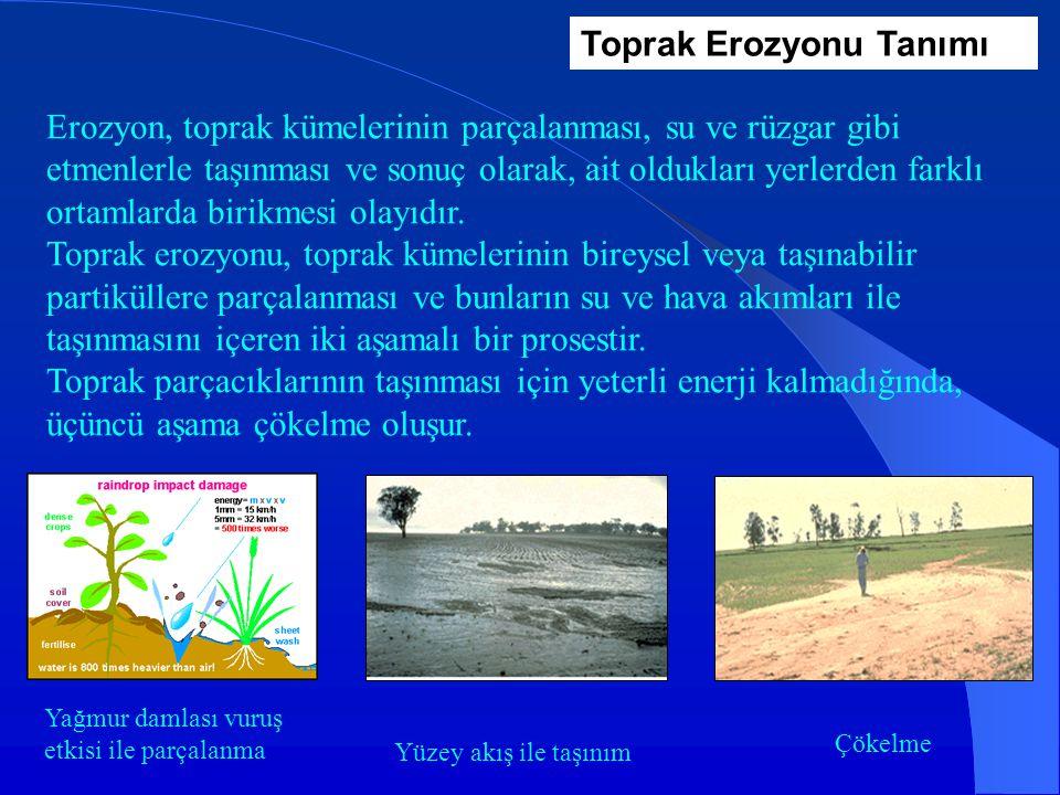 Toprak Erozyonu Tanımı Erozyon, toprak kümelerinin parçalanması, su ve rüzgar gibi etmenlerle taşınması ve sonuç olarak, ait oldukları yerlerden farklı ortamlarda birikmesi olayıdır.