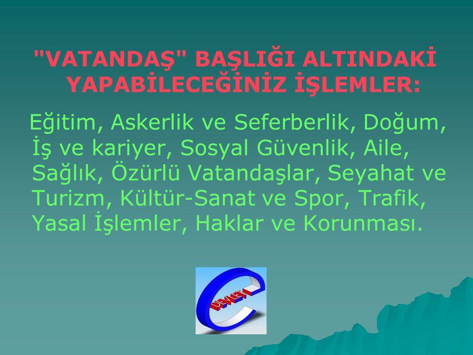   www.turkiye.gov.tr adresinde verilen hizmetler 3 ana başlık altında toplanmış durumda: 1.