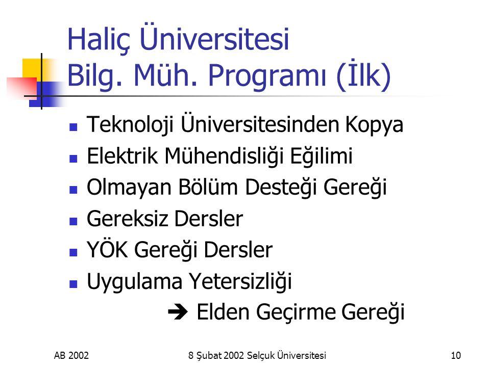 AB 20028 Şubat 2002 Selçuk Üniversitesi10 Haliç Üniversitesi Bilg.