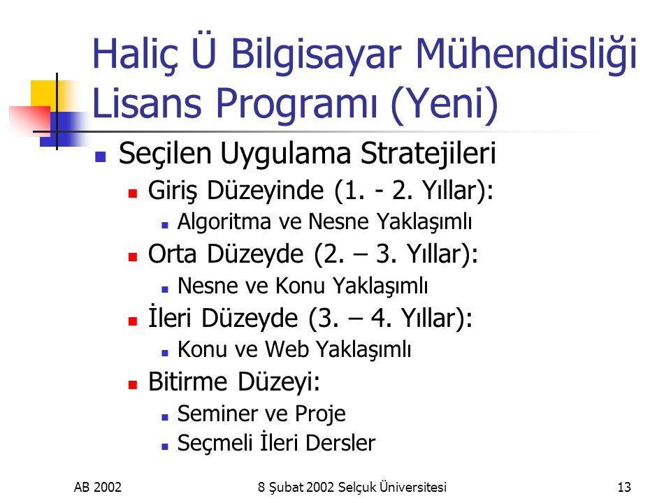 AB 20028 Şubat 2002 Selçuk Üniversitesi13 Haliç Ü Bilgisayar Mühendisliği Lisans Programı (Yeni) Seçilen Uygulama Stratejileri Giriş Düzeyinde (1.