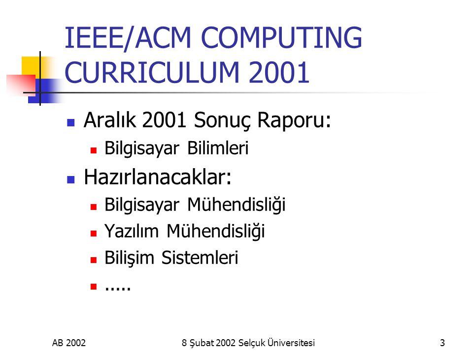 AB 20028 Şubat 2002 Selçuk Üniversitesi3 IEEE/ACM COMPUTING CURRICULUM 2001 Aralık 2001 Sonuç Raporu: Bilgisayar Bilimleri Hazırlanacaklar: Bilgisayar Mühendisliği Yazılım Mühendisliği Bilişim Sistemleri.....