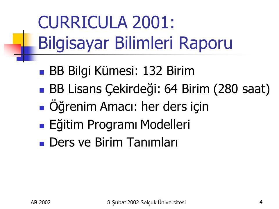AB 20028 Şubat 2002 Selçuk Üniversitesi4 CURRICULA 2001: Bilgisayar Bilimleri Raporu BB Bilgi Kümesi: 132 Birim BB Lisans Çekirdeği: 64 Birim (280 saat) Öğrenim Amacı: her ders için Eğitim Programı Modelleri Ders ve Birim Tanımları
