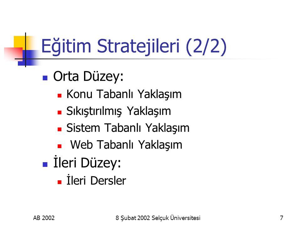 AB 20028 Şubat 2002 Selçuk Üniversitesi7 Eğitim Stratejileri (2/2) Orta Düzey: Konu Tabanlı Yaklaşım Sıkıştırılmış Yaklaşım Sistem Tabanlı Yaklaşım Web Tabanlı Yaklaşım İleri Düzey: İleri Dersler