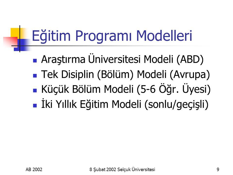 AB 20028 Şubat 2002 Selçuk Üniversitesi9 Eğitim Programı Modelleri Araştırma Üniversitesi Modeli (ABD) Tek Disiplin (Bölüm) Modeli (Avrupa) Küçük Bölüm Modeli (5-6 Öğr.