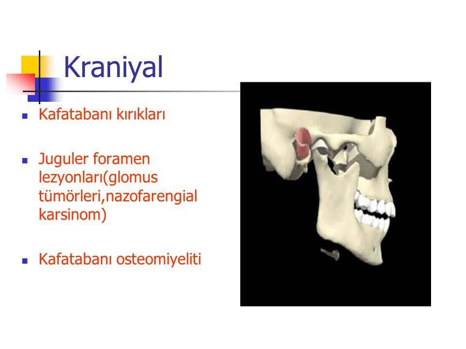 Kraniyal Kafatabanı kırıkları Juguler foramen lezyonları(glomus tümörleri,nazofarengial karsinom) Kafatabanı osteomiyeliti