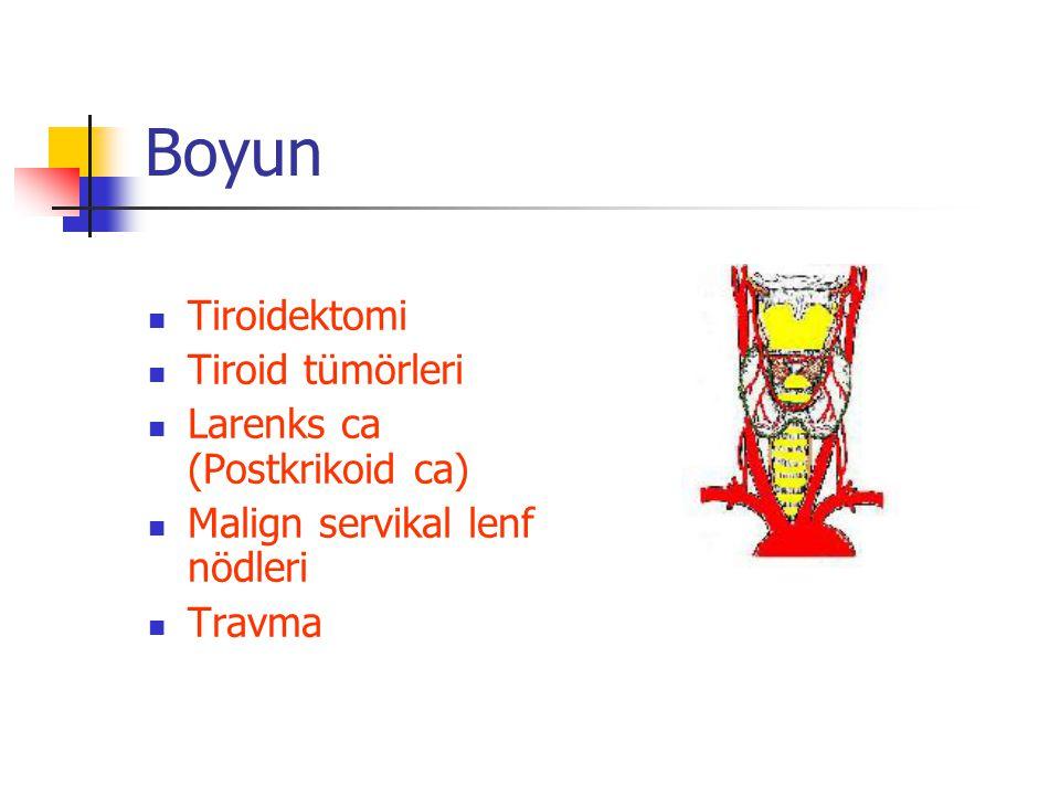 Boyun Tiroidektomi Tiroid tümörleri Larenks ca (Postkrikoid ca) Malign servikal lenf nödleri Travma