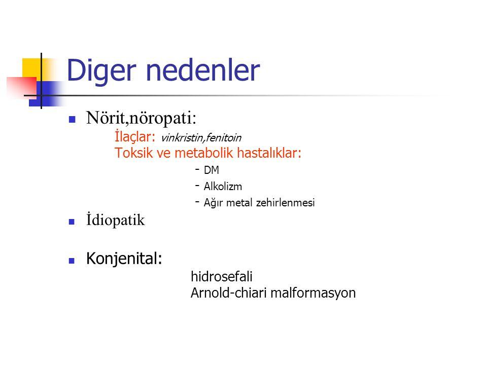 Diger nedenler Nörit,nöropati: İlaçlar: vinkristin,fenitoin Toksik ve metabolik hastalıklar: - DM - Alkolizm - Ağır metal zehirlenmesi İdiopatik Konje