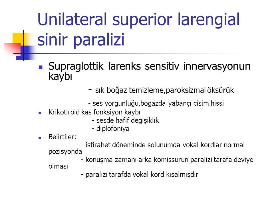 Unilateral superior larengial sinir paralizi Supraglottik larenks sensitiv innervasyonun kaybı - sık boğaz temizleme,paroksizmal öksürük - ses yorgunl