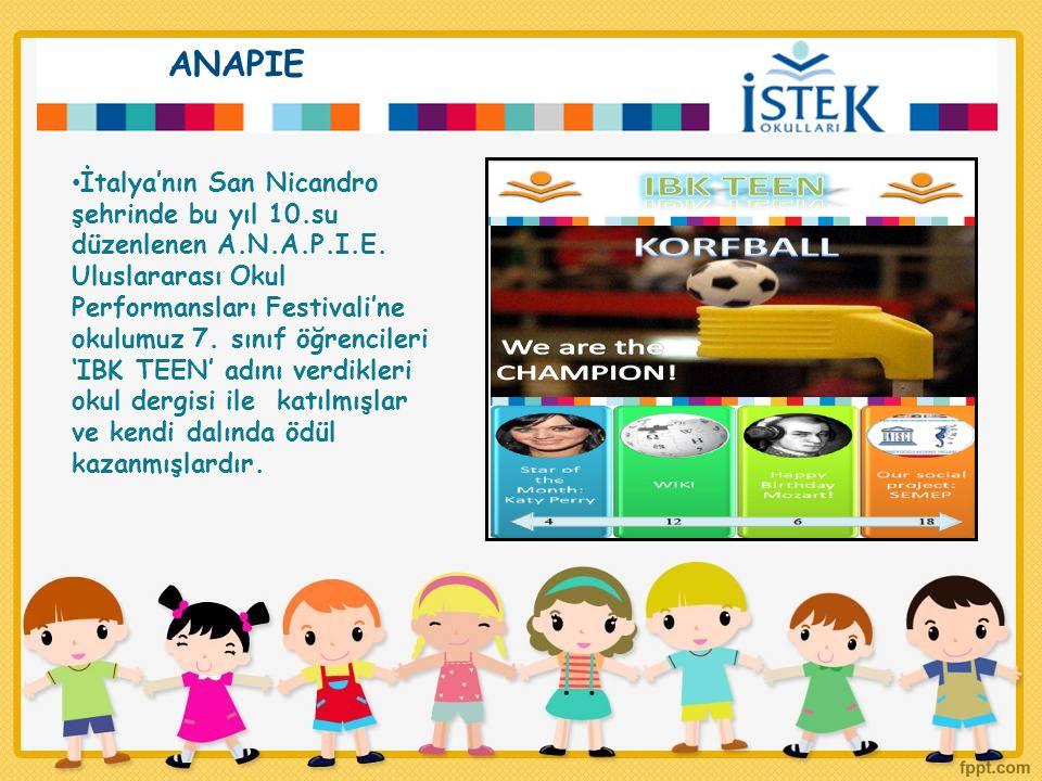 ANAPIE İtalya'nın San Nicandro şehrinde bu yıl 10.su düzenlenen A.N.A.P.I.E. Uluslararası Okul Performansları Festivali'ne okulumuz 7. sınıf öğrencile