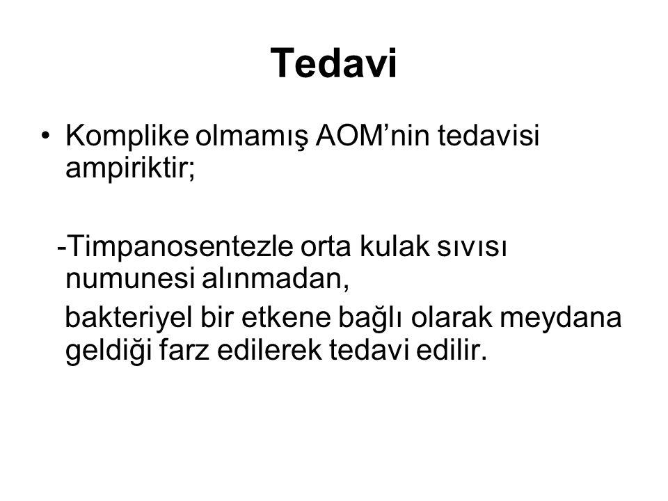 Tedavi Komplike olmamış AOM'nin tedavisi ampiriktir; -Timpanosentezle orta kulak sıvısı numunesi alınmadan, bakteriyel bir etkene bağlı olarak meydana
